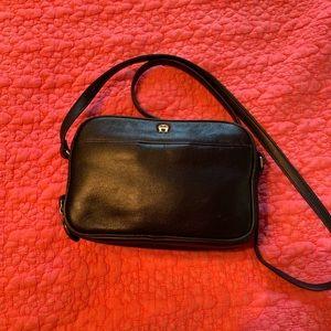 Etienne Aigner dark navy crossbody leather purse